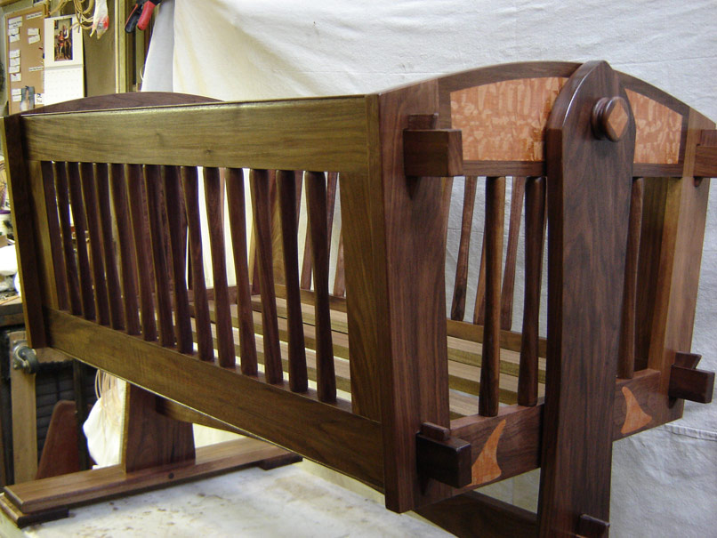 Walnut And Lacewood Baby Cradle